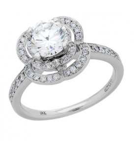 1.41 Carat Round Brilliant Center 18Kt White Gold Diamond Ring Carat Total Weight 1.41
