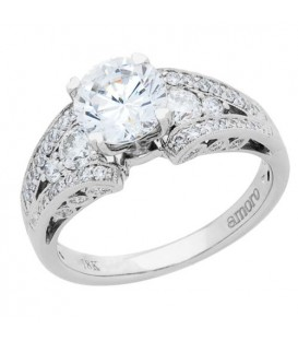 1.80 Carat Round Brilliant Pristine Hearts Diamond Ring 18Kt White Gold