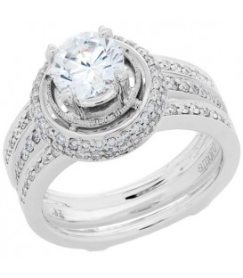 Rings - 1.49 Carat Eternitymark Diamond Bridal Set 18Kt White Gold