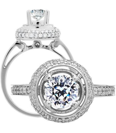 Rings - 1.55 Carat Round Brilliant Pristine Hearts Diamond Ring 18Kt White Gold