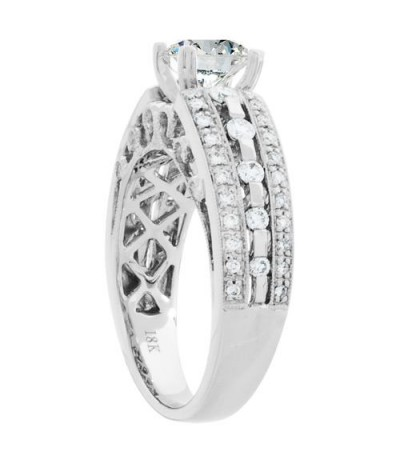 1.20 Carat Round Brilliant Pristine Hearts Diamond Ring 18Kt White Gold