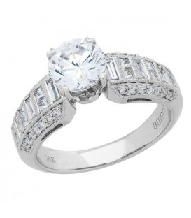 1.71 Carat Round Brilliant Pristine Hearts Diamond Ring 18Kt White Gold