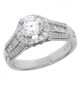 0.98 Carat Round Brilliant Pristine Hearts Diamond Ring 18Kt White Gold