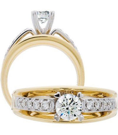Rings - 0.70 Carat Round Brilliant Diamond Ring 18Kt Two-Tone Gold