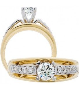 0.70 Carat Round Brilliant Diamond Ring 18Kt Two-Tone Gold
