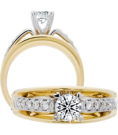 Rings - 0.66 Carat Round Brilliant Eternitymark Diamond Ring 18Kt Two-Tone Gold