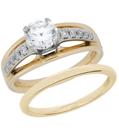 Rings - 0.66 Carat Eternitymark Diamond Bridal Set 18Kt Two-Tone Gold