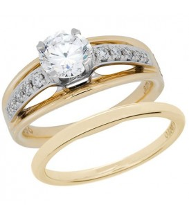 0.66 Carat Eternitymark Diamond Bridal Set 18Kt Two-Tone Gold