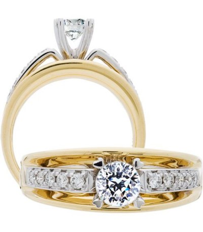 Rings - 0.68 Carat Round Brilliant Pristine Hearts Diamond Ring 18Kt Two-Tone Gold