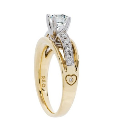 0.68 Carat Round Brilliant Pristine Hearts Diamond Ring 18Kt Two-Tone Gold