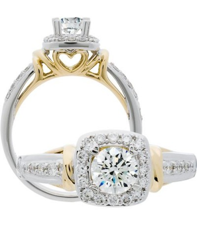 Rings - 0.76 Carat Round Brilliant Diamond Ring 18Kt Two-Tone Gold