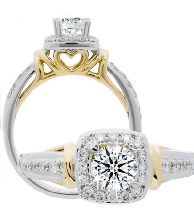 Rings - 0.74 Carat Round Brilliant Eternitymark Diamond Ring 18Kt Two-Tone Gold