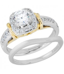 0.74 Carat Eternitymark Diamond Bridal Set 18Kt Two-Tone Gold