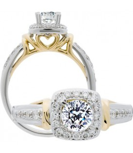 Rings - 0.74 Carat Round Brilliant Pristine Hearts Diamond Ring 18Kt Two-Tone Gold