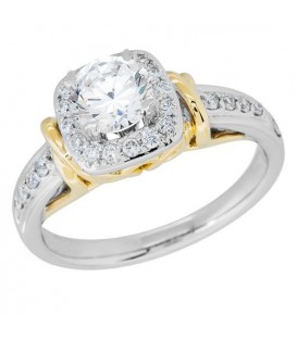 0.74 Carat Round Brilliant Pristine Hearts Diamond Ring 18Kt Two-Tone Gold