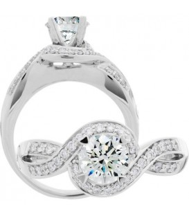 Rings - 0.74 Carat Round Brilliant Diamond Ring 18Kt White Gold