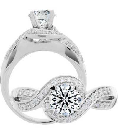 Rings - 0.72 Carat Round Brilliant Eternitymark Diamond Ring 18Kt White Gold