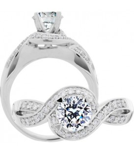 Rings - 0.73 Carat Round Brilliant Pristine Hearts Diamond Ring 18Kt White Gold