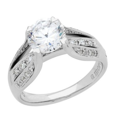 0.97 Carat Round Brilliant Diamond Ring 18Kt White Gold