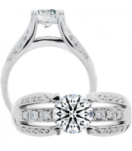 Rings - 0.91 Carat Round Brilliant Eternitymark Diamond Ring 18Kt White Gold