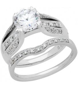 0.97 Carat Eternitymark Diamond Bridal Set 18Kt White Gold