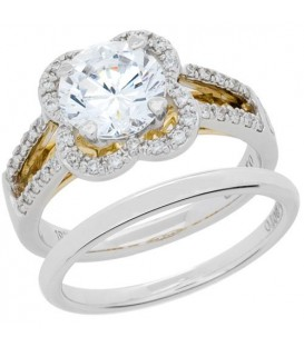 Rings - 0.96 Carat Eternitymark Diamond Bridal Set 18Kt Two-Tone Gold