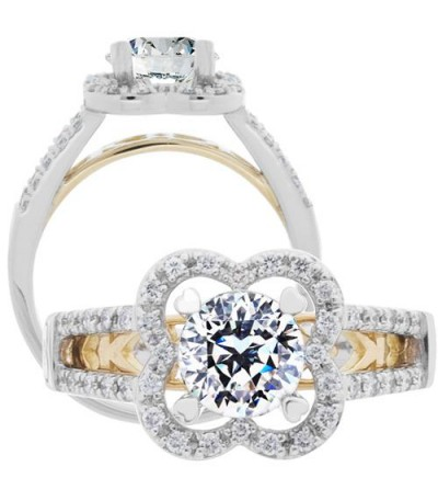 Rings - 1.02 Carat Round Brilliant Pristine Hearts Diamond Ring 18Kt White Gold
