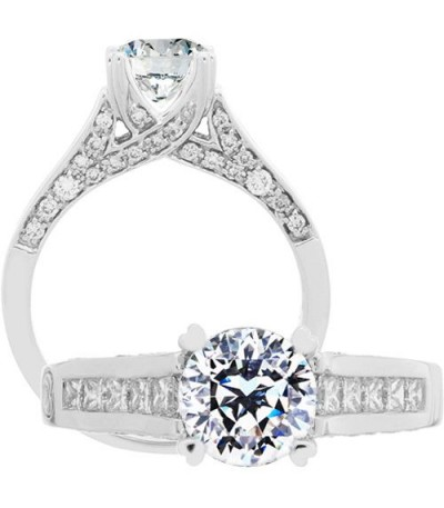 Rings - 1.42 Carat Round Brilliant Pristine Hearts Diamond Ring 18Kt White Gold