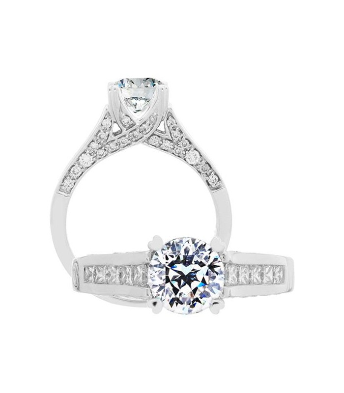 Fine Jewelry Solitaire Accented Diamond Ring 8 Prong 1.42 Ct Round Cut 18 Karat White Gold