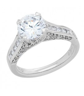 1.42 Carat Round Brilliant Pristine Hearts Diamond Ring 18Kt White Gold
