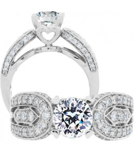 Rings - 1.79 Carat Round Brilliant Pristine Hearts Diamond Ring 18Kt White Gold