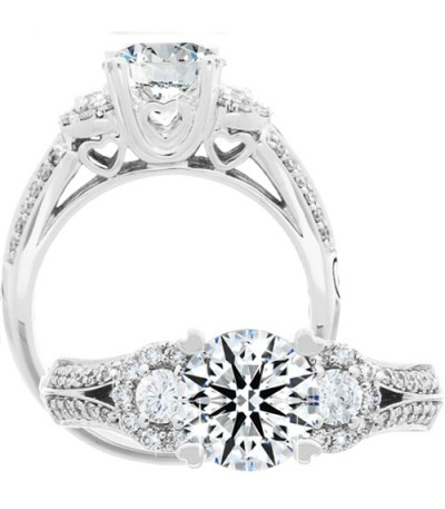 Rings - 1.39 Carat Round Brilliant Eternitymark Diamond Ring 18Kt White Gold
