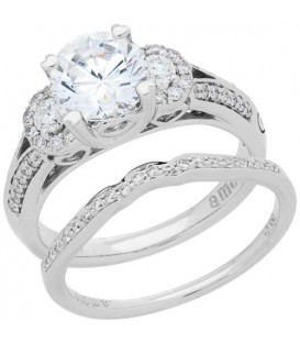 Rings - 1.39 Carat Eternitymark Diamond Bridal Set 18Kt White Gold
