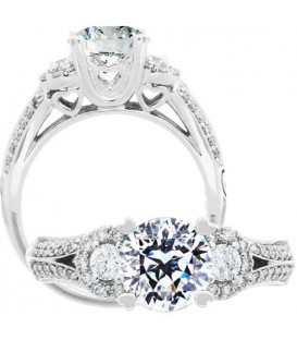 Rings - 1.44 Carat Round Brilliant Pristine Hearts Diamond Ring 18Kt White Gold