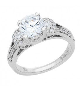 1.44 Carat Round Brilliant Pristine Hearts Diamond Ring 18Kt White Gold
