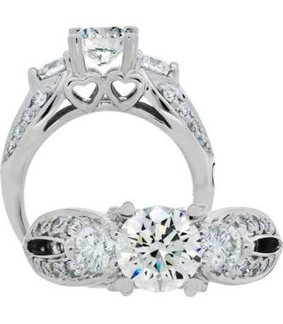 Rings - 1.75 Carat Round Brilliant Pristine Hearts Diamond Ring 18Kt White Gold