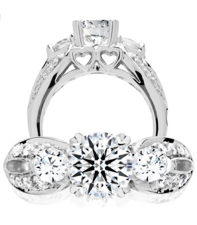 Rings - 1.74 Carat Round Brilliant Pristine Hearts Diamond Ring 18Kt White Gold