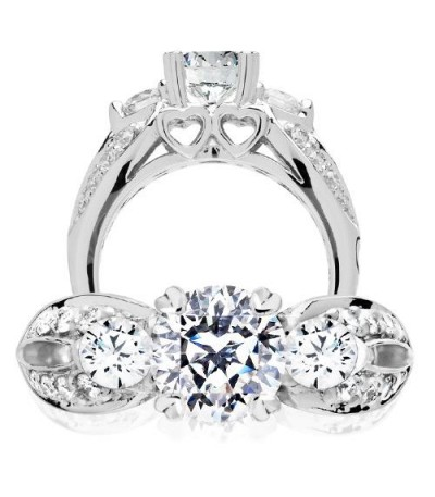 Rings - 1.81 Carat Round Brilliant Pristine Hearts Diamond Ring 18Kt White Gold
