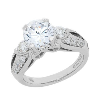 1.81 Carat Round Brilliant Pristine Hearts Diamond Ring 18Kt White Gold