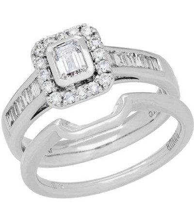 Rings - 0.76 Carat Emerald Cut Diamond Ring Bridal Set 18Kt White Gold