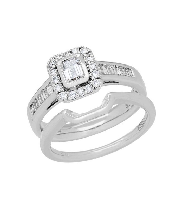 product engagement cathedral emerald diamond set ring cut channel