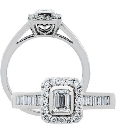 Rings - 0.76 Carat Emerald Cut Diamond Ring 18Kt White Gold