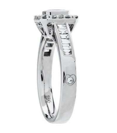 0.76 Carat Emerald Cut Diamond Ring 18Kt White Gold