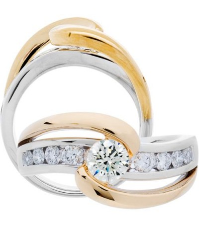Rings - 1.01 Carat Round Brilliant Diamond Ring 18Kt Two-Tone Gold