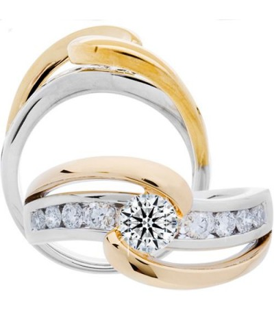 Rings - 1.01 Carat Round Brilliant Eternitymark Diamond Ring 18Kt Two-Tone Gold