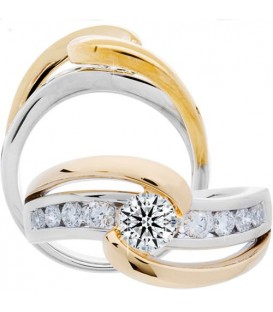 1.01 Carat Round Brilliant Eternitymark Diamond Ring 18Kt Two-Tone Gold