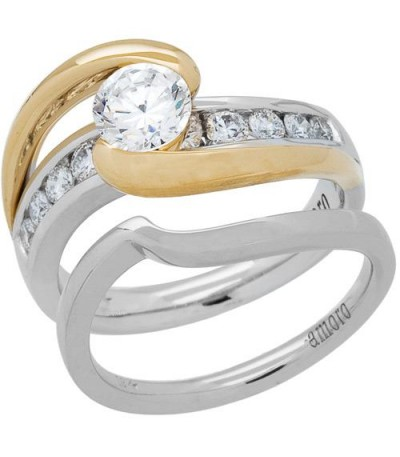 Rings - 1.01 Carat Eternitymark Diamond Bridal Set 18Kt Two-Tone Gold