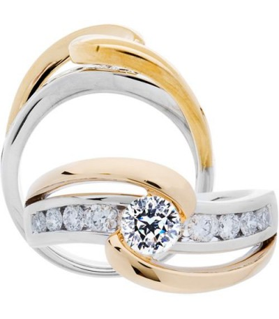 Rings - 0.99 Carat Round Brilliant Pristine Hearts Diamond Ring 18Kt Two-Tone Gold
