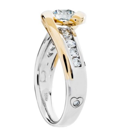 0.99 Carat Round Brilliant Pristine Hearts Diamond Ring 18Kt Two-Tone Gold