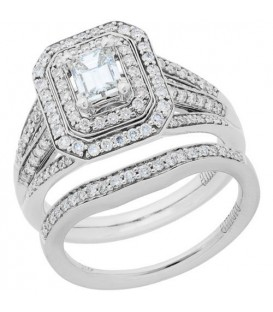 More about 1.15 Carat Emerald Cut Diamond Ring Bridal Set 18Kt White Gold